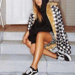 TRENDY DOLLZ Gingham Fur Lined Coat